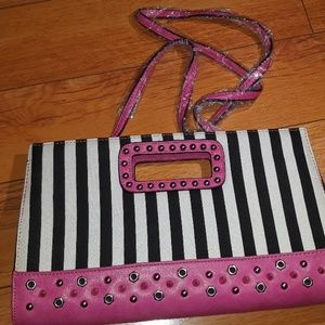Pink and striped printed crossbody bag